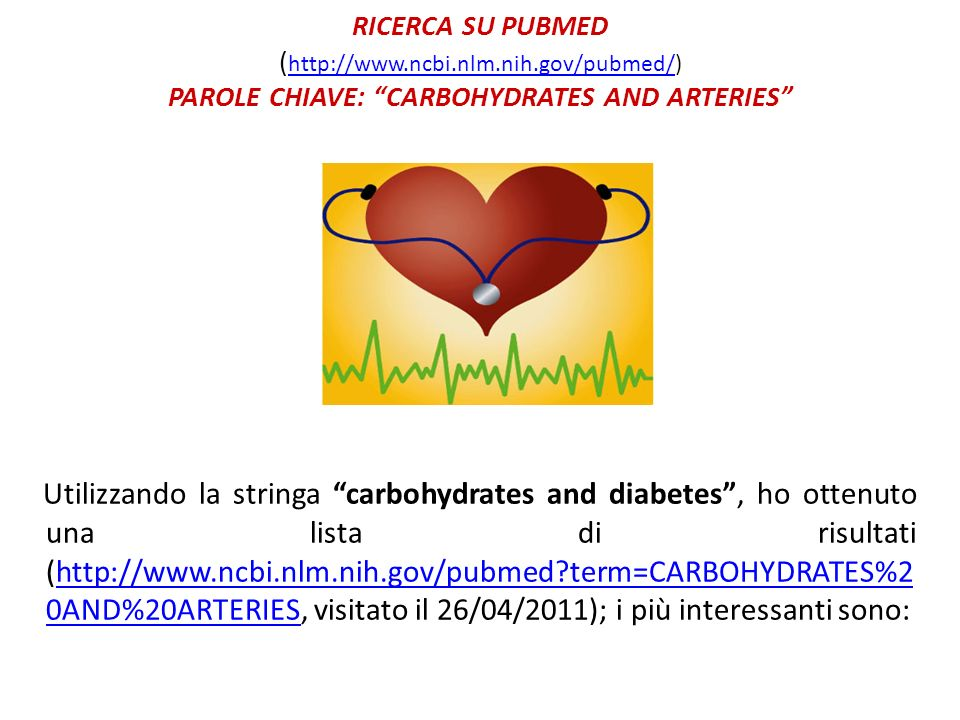 RICERCA SU PUBMED ( http://www.ncbi.nlm.nih.gov/pubmed/) PAROLE CHIAVE: CARBOHYDRATES AND ARTERIES http://www.ncbi.nlm.nih.gov/pubmed/ Utilizzando la