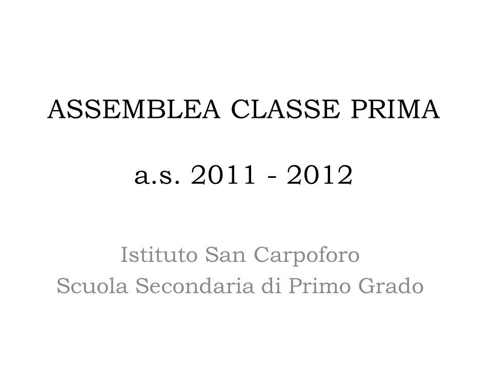 ASSEMBLEA CLASSE PRIMA a.s. 2011 - 2012 Istituto San Carpoforo Scuola Secondaria di Primo Grado