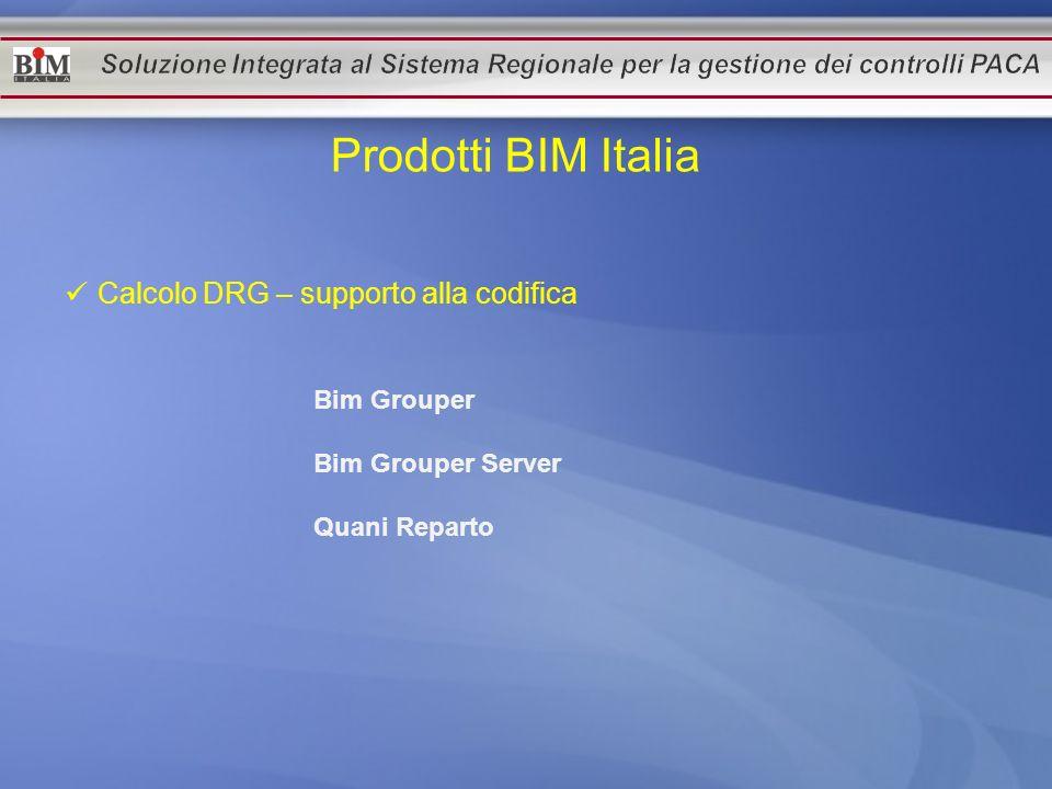 Prodotti BIM Italia Calcolo DRG – supporto alla codifica Bim Grouper Bim Grouper Server Quani Reparto