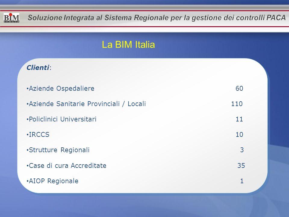 La BIM Italia Clienti: Aziende Ospedaliere 60 Aziende Sanitarie Provinciali / Locali 110 Policlinici Universitari 11 IRCCS 10 Strutture Regionali 3 Ca