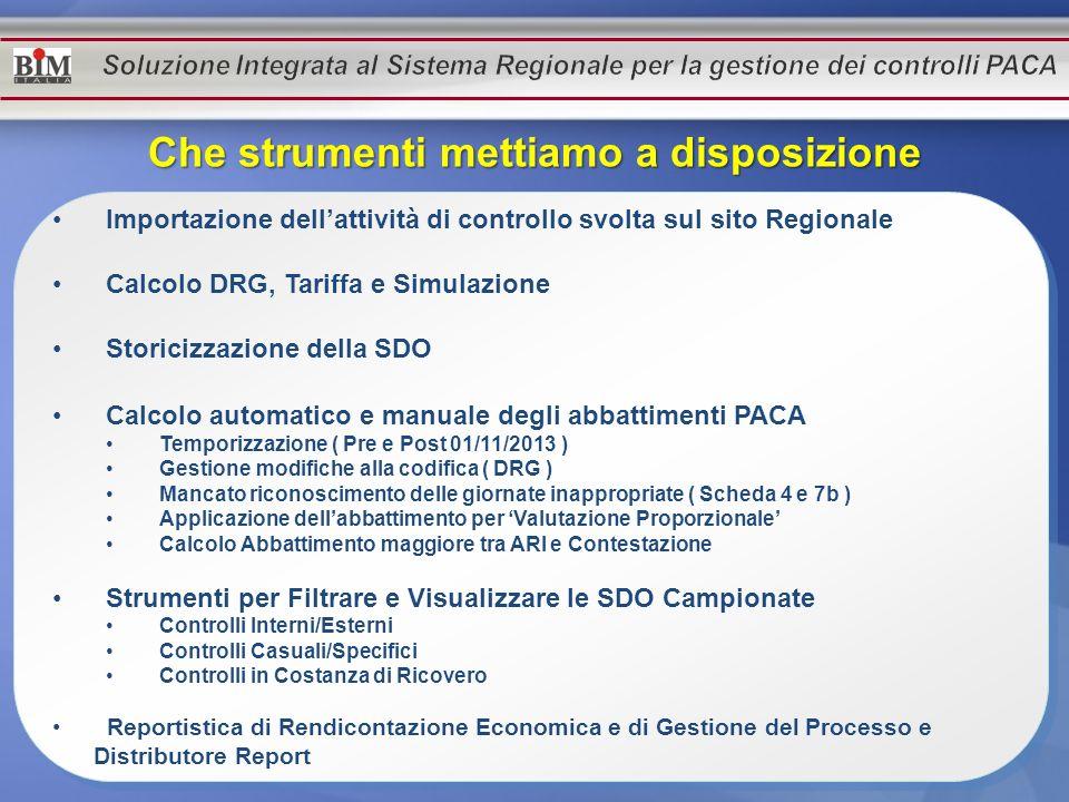 Importazione dellattività di controllo svolta sul sito Regionale Calcolo DRG, Tariffa e Simulazione Storicizzazione della SDO Calcolo automatico e man