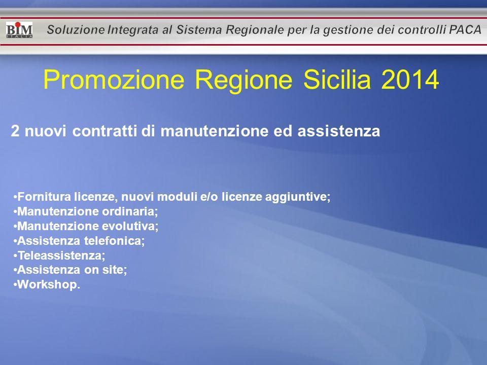 Promozione Regione Sicilia 2014 2 nuovi contratti di manutenzione ed assistenza Fornitura licenze, nuovi moduli e/o licenze aggiuntive; Manutenzione o