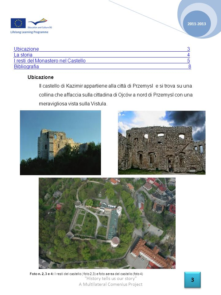 History tells us our story A Multilateral Comenius Project 2011-2013 3 3 Ubicazione Il castello di Kazimir appartiene alla città di Przemysl e si trova su una collina che affaccia sulla cittadina di Ojców a nord di Przemysl con una meravigliosa vista sulla Vistula.
