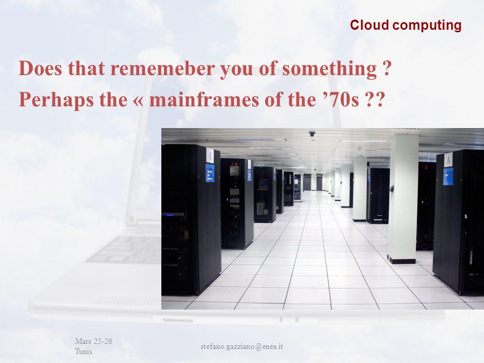 John Cabot University Mars 25-26 Tunis stefano.gazziano@enea.it Cloud computing Does that rememeber you of something .