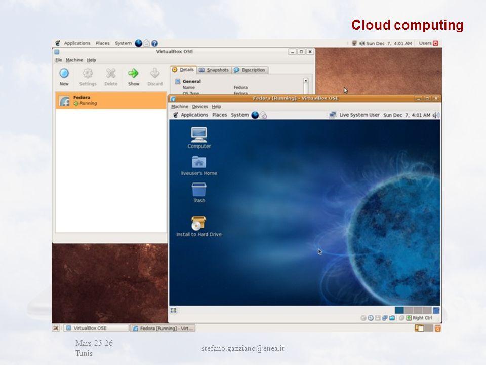 John Cabot University Mars 25-26 Tunis stefano.gazziano@enea.it Cloud computing