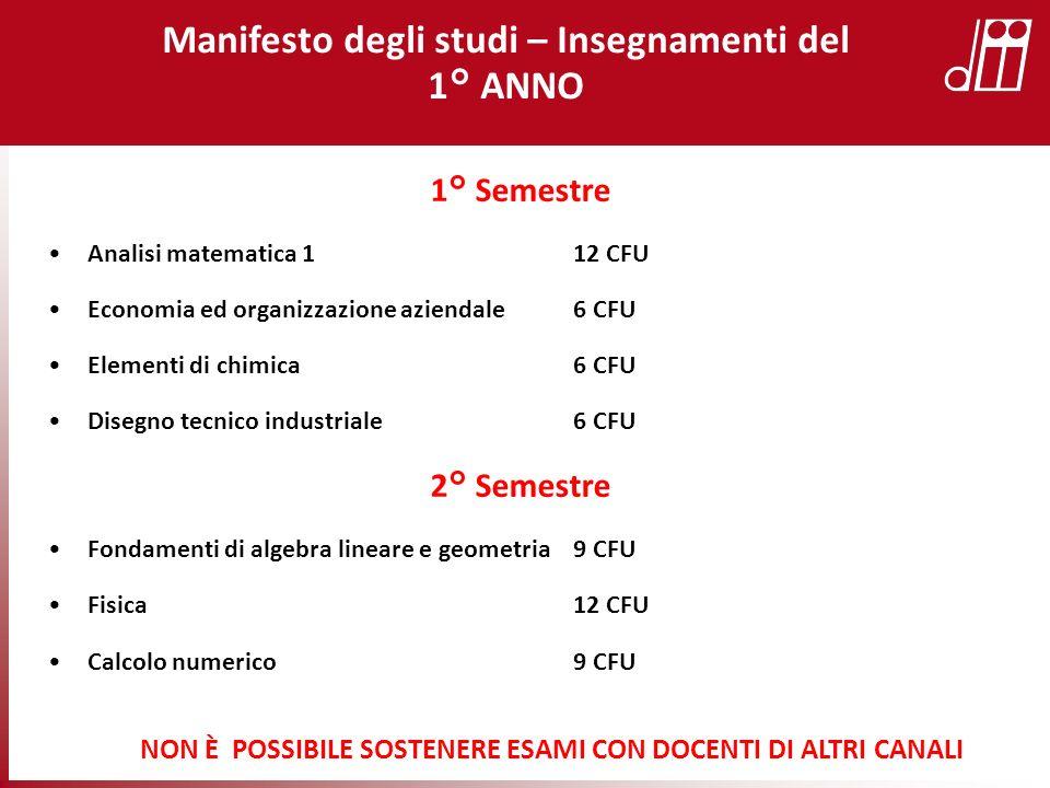 1° Semestre Analisi matematica 1 12 CFU Economia ed organizzazione aziendale 6 CFU Elementi di chimica6 CFU Disegno tecnico industriale6 CFU 2° Semest
