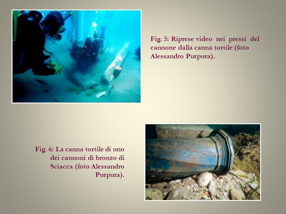 Fig. 5: Riprese video nei pressi del cannone dalla canna tortile (foto Alessandro Purpura). Fig. 6: La canna tortile di uno dei cannoni di bronzo di S