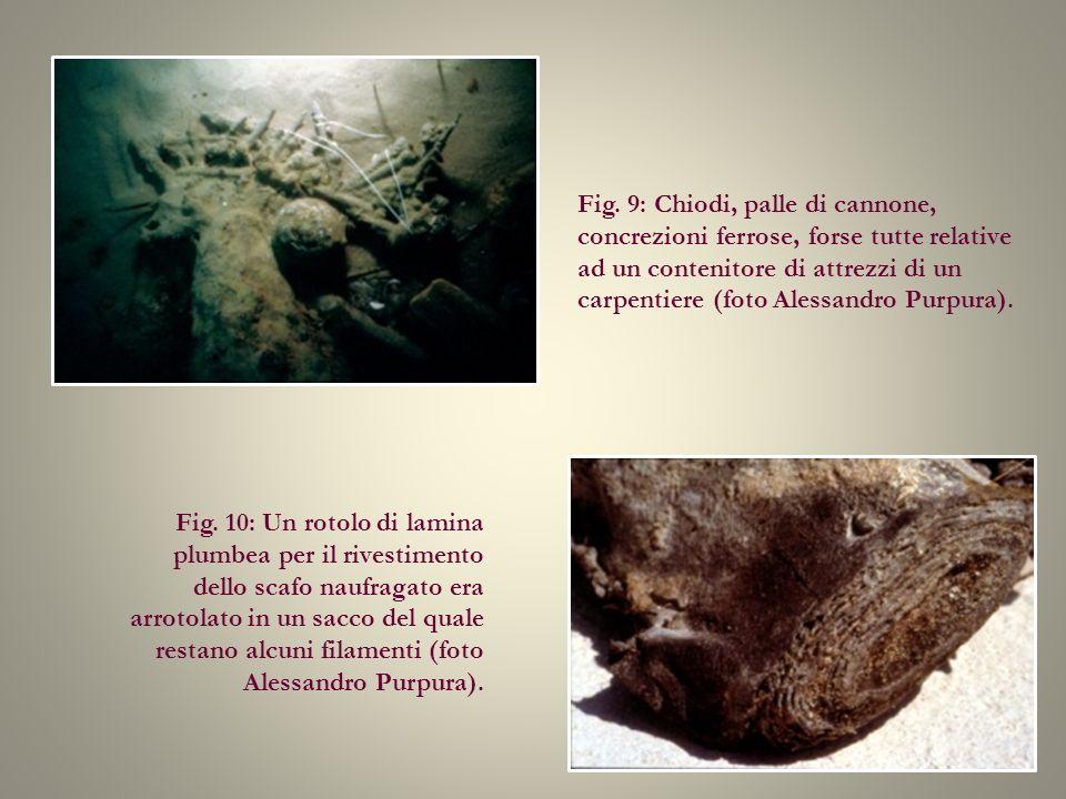 Fig. 9: Chiodi, palle di cannone, concrezioni ferrose, forse tutte relative ad un contenitore di attrezzi di un carpentiere (foto Alessandro Purpura).