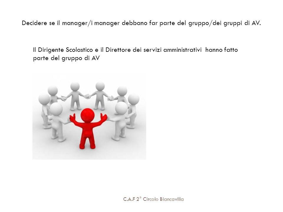 C.A.F 2° Circolo Biancavilla Decidere se il manager/i manager debbano far parte del gruppo/dei gruppi di AV. Il Dirigente Scolastico e il Direttore de