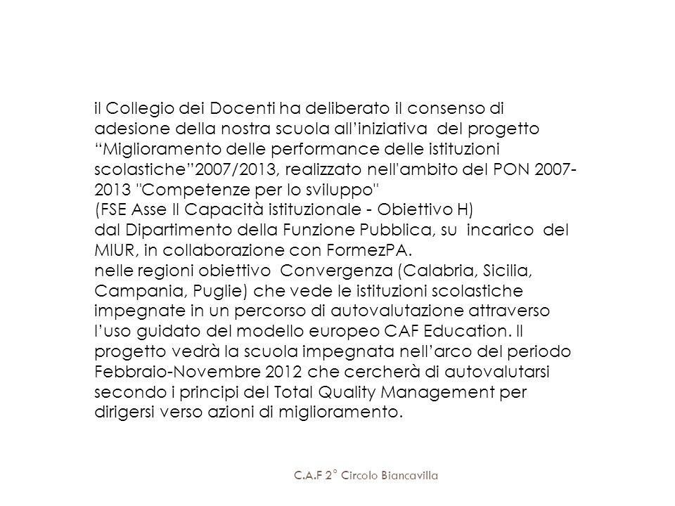 il Collegio dei Docenti ha deliberato il consenso di adesione della nostra scuola alliniziativa del progetto Miglioramento delle performance delle ist