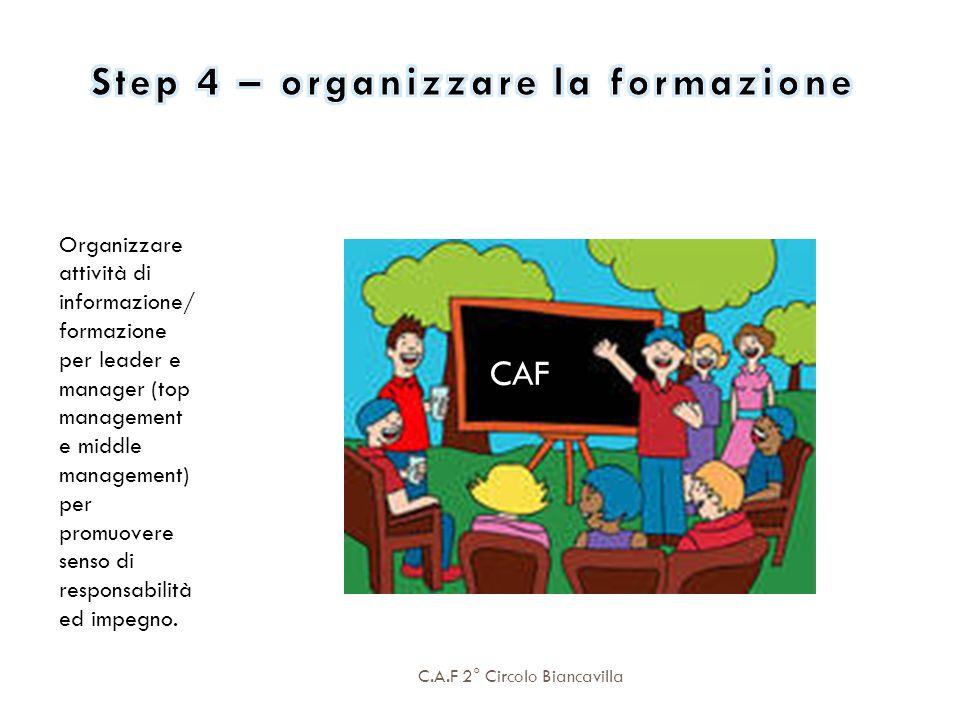 C.A.F 2° Circolo Biancavilla Organizzare attività di informazione/ formazione per leader e manager (top management e middle management) per promuovere
