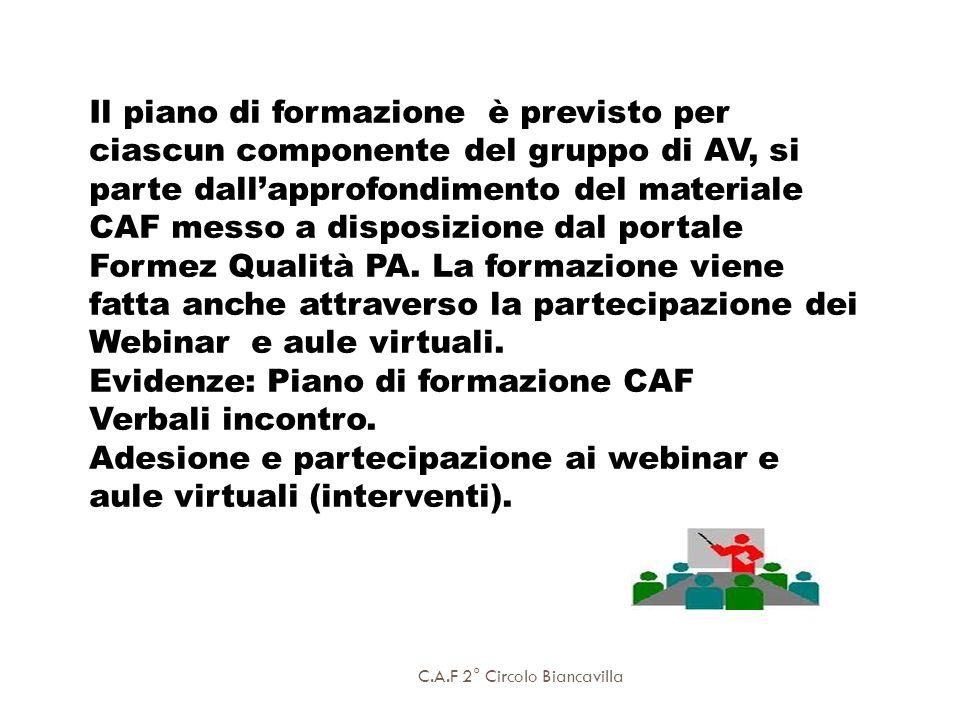 C.A.F 2° Circolo Biancavilla Il piano di formazione è previsto per ciascun componente del gruppo di AV, si parte dallapprofondimento del materiale CAF
