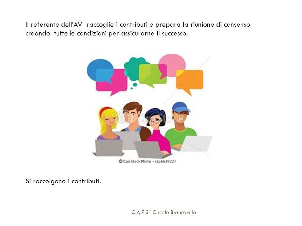 C.A.F 2° Circolo Biancavilla Il referente dellAV raccoglie i contributi e prepara la riunione di consenso creando tutte le condizioni per assicurarne