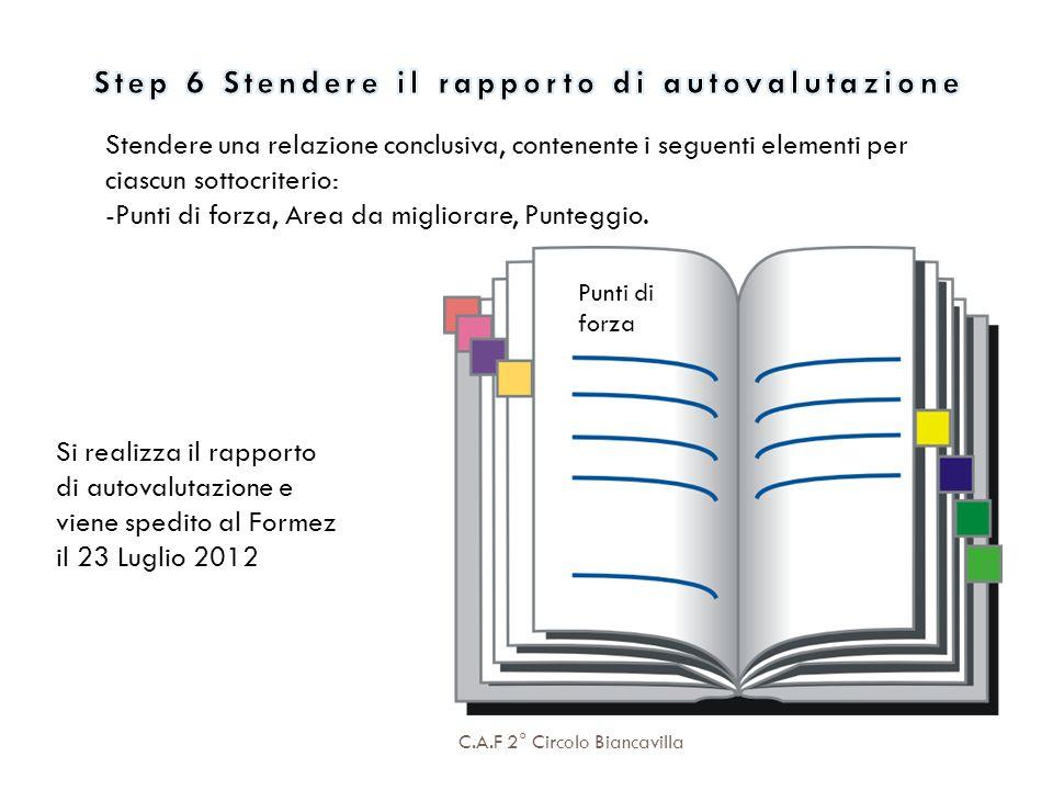 C.A.F 2° Circolo Biancavilla Stendere una relazione conclusiva, contenente i seguenti elementi per ciascun sottocriterio: punti di forza aree da migli