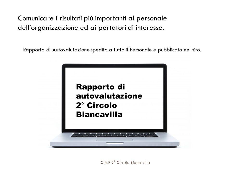C.A.F 2° Circolo Biancavilla Comunicare i risultati più importanti al personale dellorganizzazione ed ai portatori di interesse. Rapporto di Autovalut