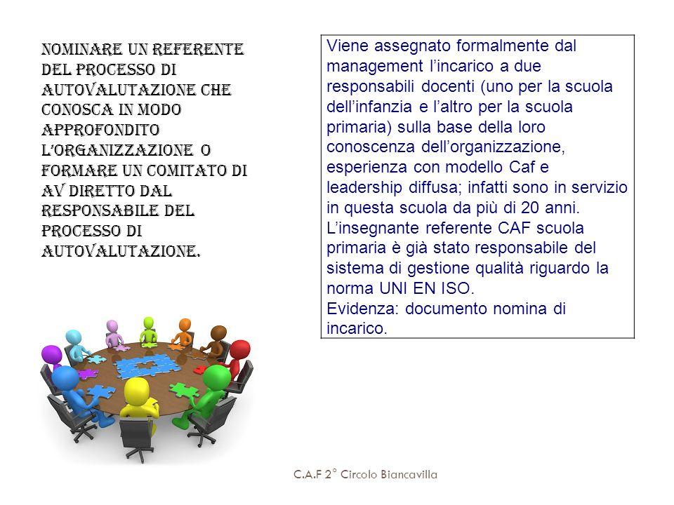 C.A.F 2° Circolo Biancavilla Nominare un referente del processo di autovalutazione che conosca in modo approfondito lorganizzazione o formare un comit