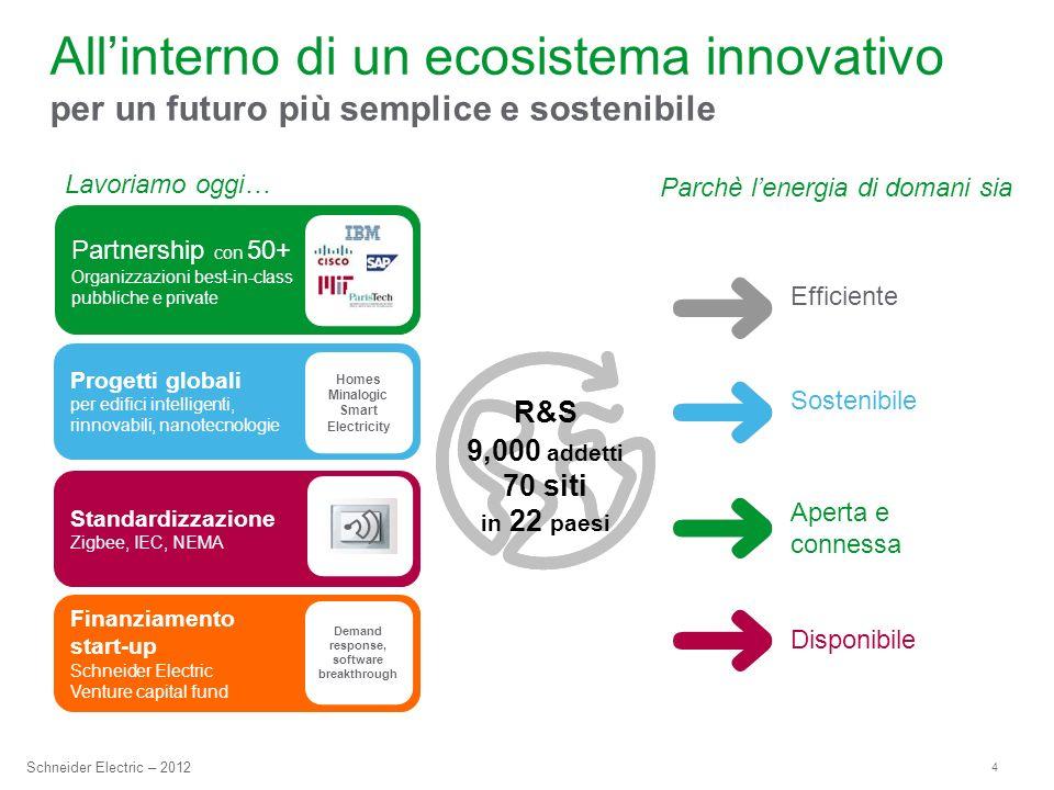 4 Schneider Electric – 2012 R&S 9,000 addetti 70 siti in 22 paesi Allinterno di un ecosistema innovativo per un futuro più semplice e sostenibile Sost