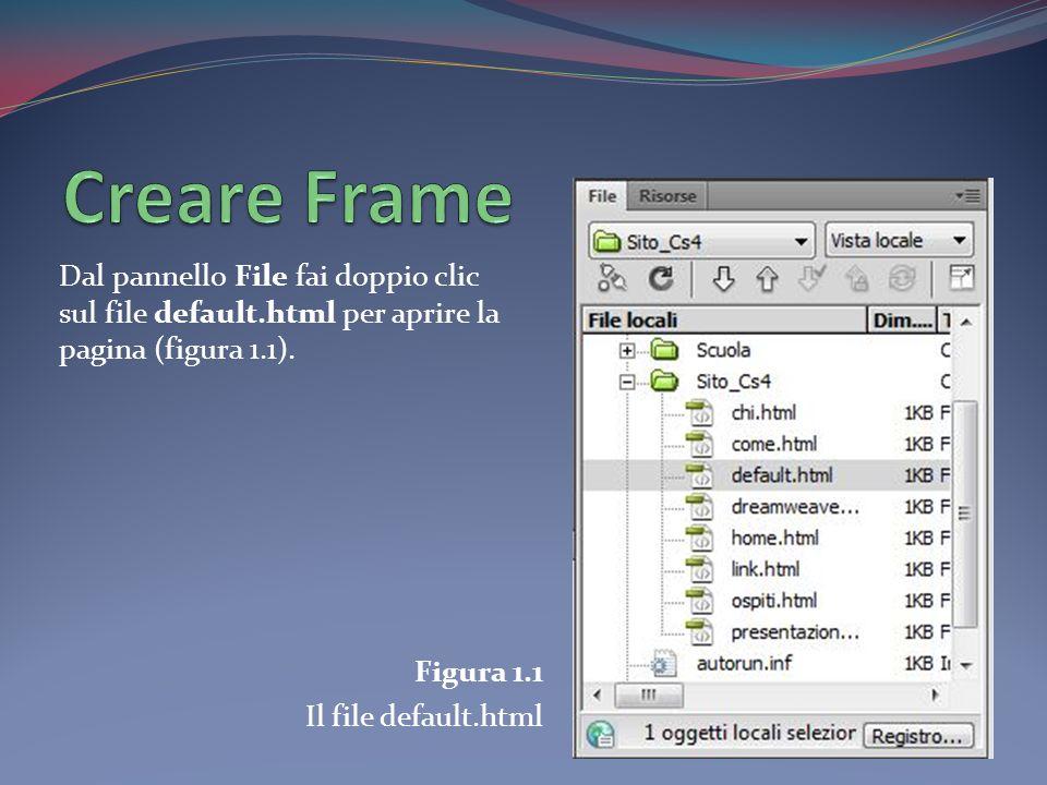 Dal pannello File fai doppio clic sul file default.html per aprire la pagina (figura 1.1). Figura 1.1 Il file default.html