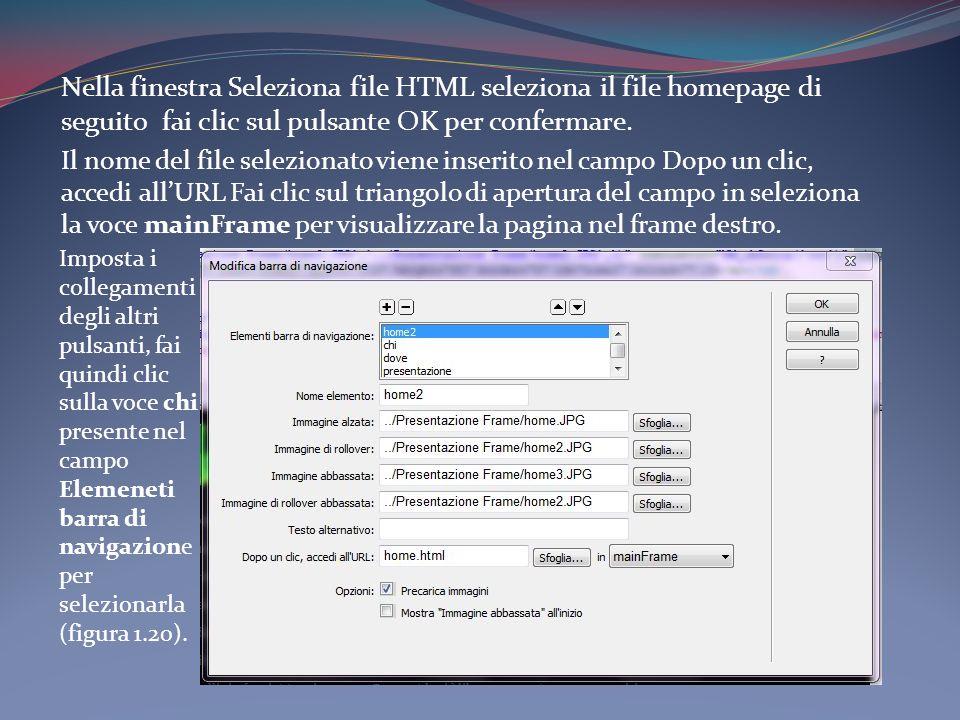 Nella finestra Seleziona file HTML seleziona il file homepage di seguito fai clic sul pulsante OK per confermare.