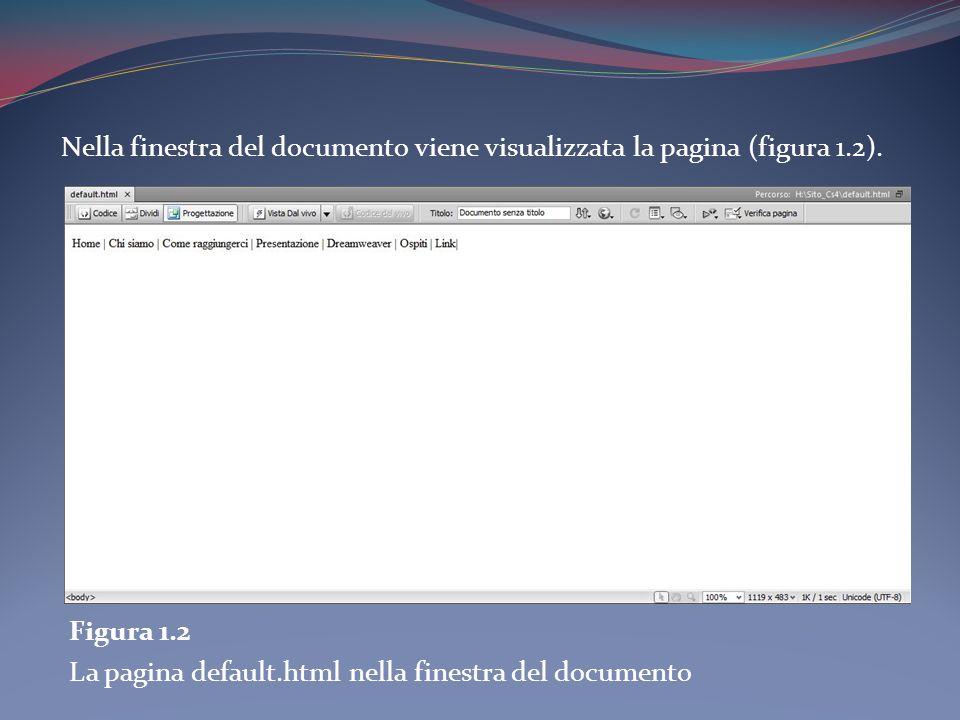 Nella finestra del documento viene visualizzata la pagina (figura 1.2). Figura 1.2 La pagina default.html nella finestra del documento