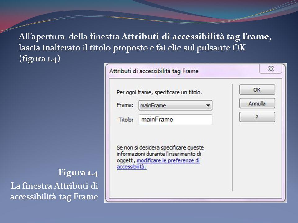Allapertura della finestra Attributi di accessibilità tag Frame, lascia inalterato il titolo proposto e fai clic sul pulsante OK (figura 1.4) Figura 1.4 La finestra Attributi di accessibilità tag Frame