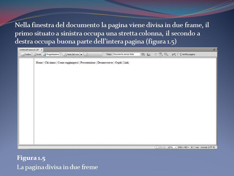 Nella finestra del documento la pagina viene divisa in due frame, il primo situato a sinistra occupa una stretta colonna, il secondo a destra occupa buona parte dellintera pagina (figura 1.5) Figura 1.5 La pagina divisa in due freme