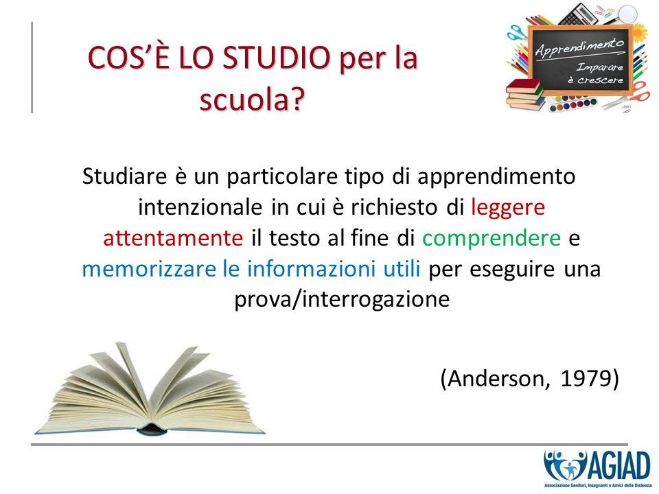 COSÈ LO STUDIO per la scuola? Studiare è un particolare tipo di apprendimento intenzionale in cui è richiesto di leggere attentamente il testo al fine