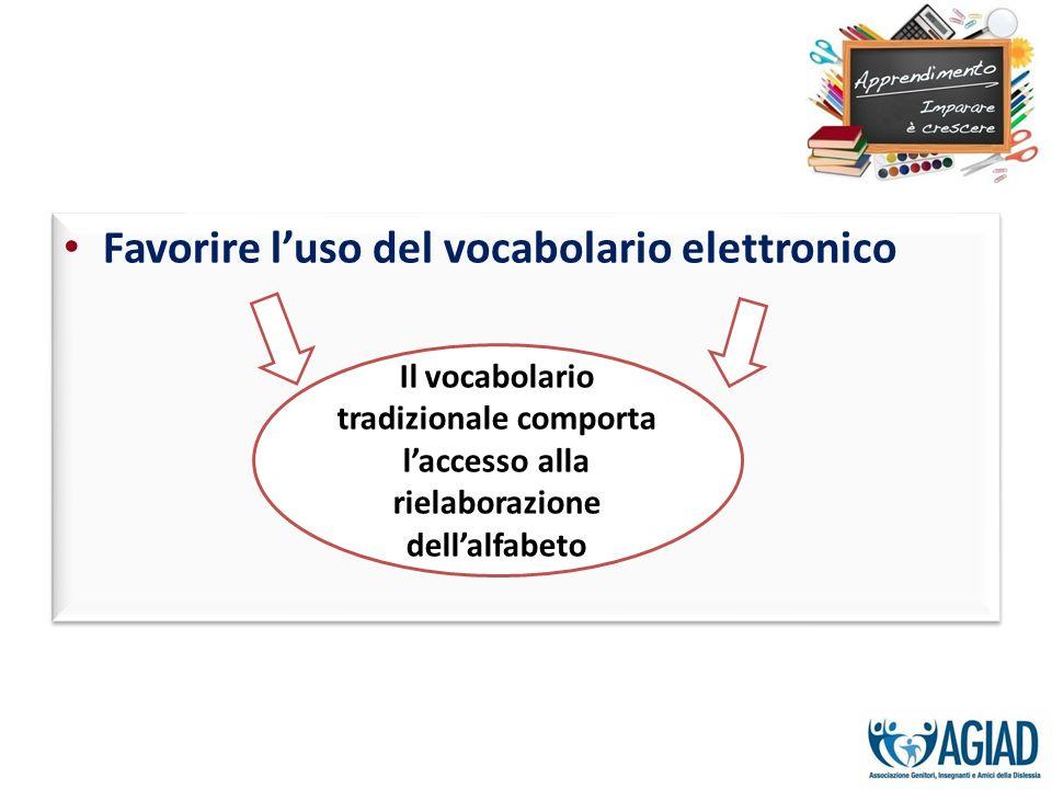 Favorire luso del vocabolario elettronico Il vocabolario tradizionale comporta laccesso alla rielaborazione dellalfabeto