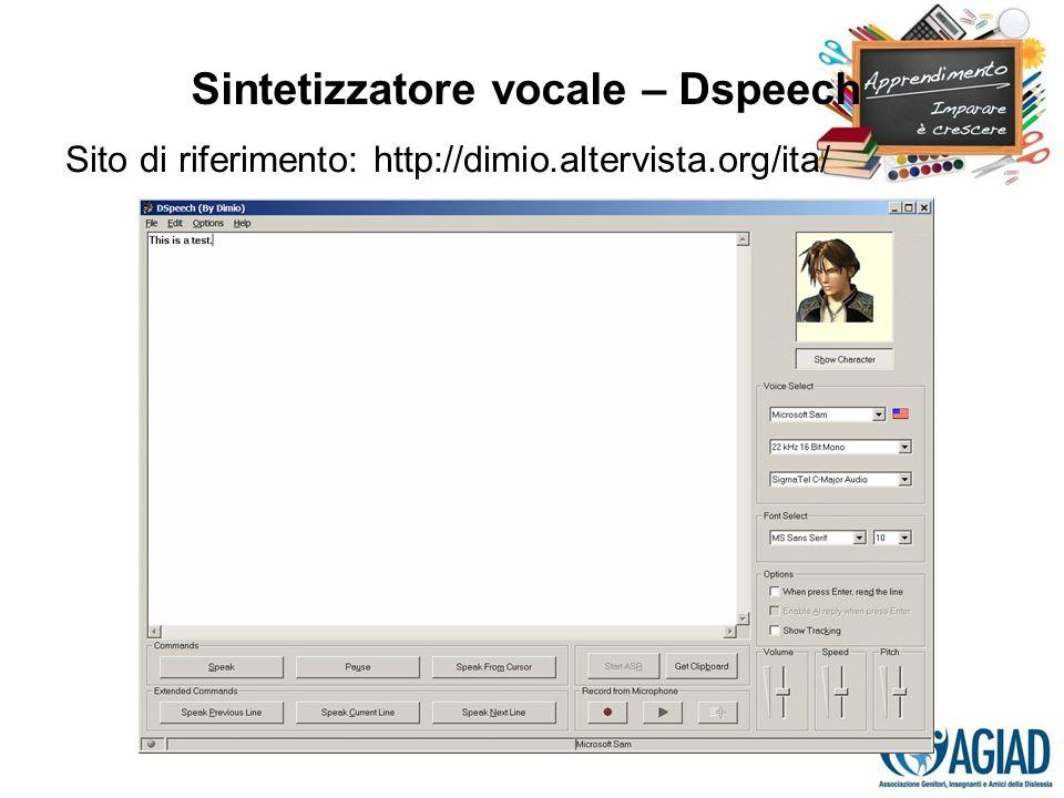 Sintetizzatore vocale – Dspeech Sito di riferimento: http://dimio.altervista.org/ita/