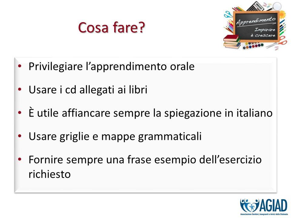 Privilegiare lapprendimento orale Usare i cd allegati ai libri È utile affiancare sempre la spiegazione in italiano Usare griglie e mappe grammaticali