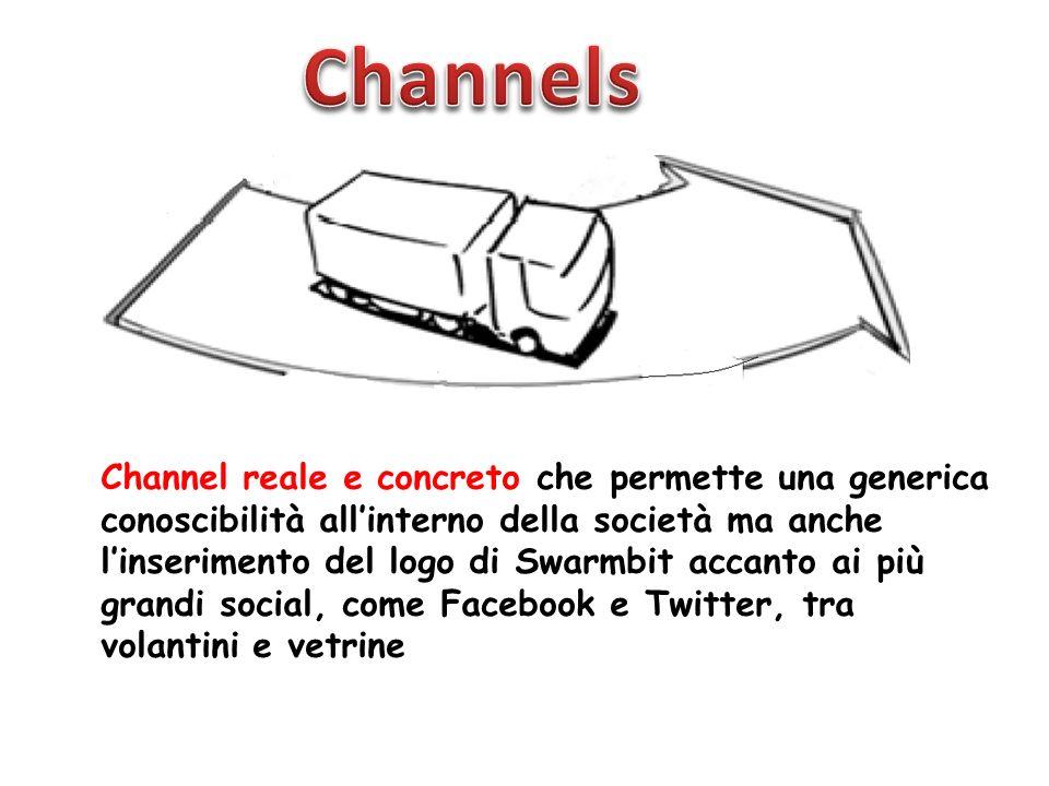 Channel reale e concreto che permette una generica conoscibilità allinterno della società ma anche linserimento del logo di Swarmbit accanto ai più grandi social, come Facebook e Twitter, tra volantini e vetrine