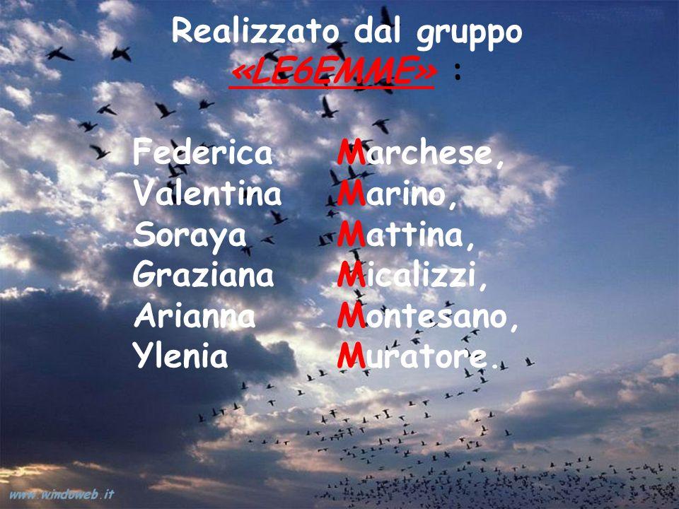 Realizzato dal gruppo «LE6EMME» : Federica Marchese, Valentina Marino, Soraya Mattina, Graziana Micalizzi, Arianna Montesano, Ylenia Muratore.