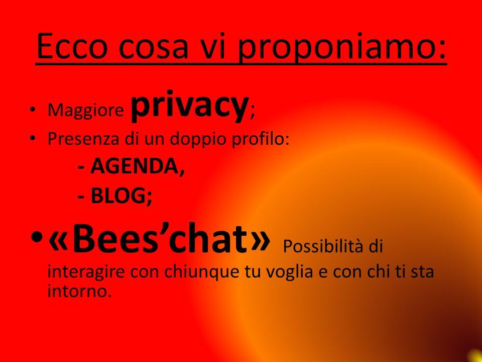 Ecco cosa vi proponiamo: Maggiore privacy ; Presenza di un doppio profilo: - AGENDA, - BLOG; «Beeschat» Possibilità di interagire con chiunque tu vogl