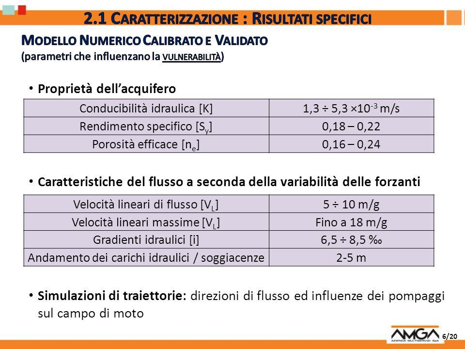 17/20 Principali indicatori chimico-fisici di contaminazione della falda: ( ) da verificare in laboratorio