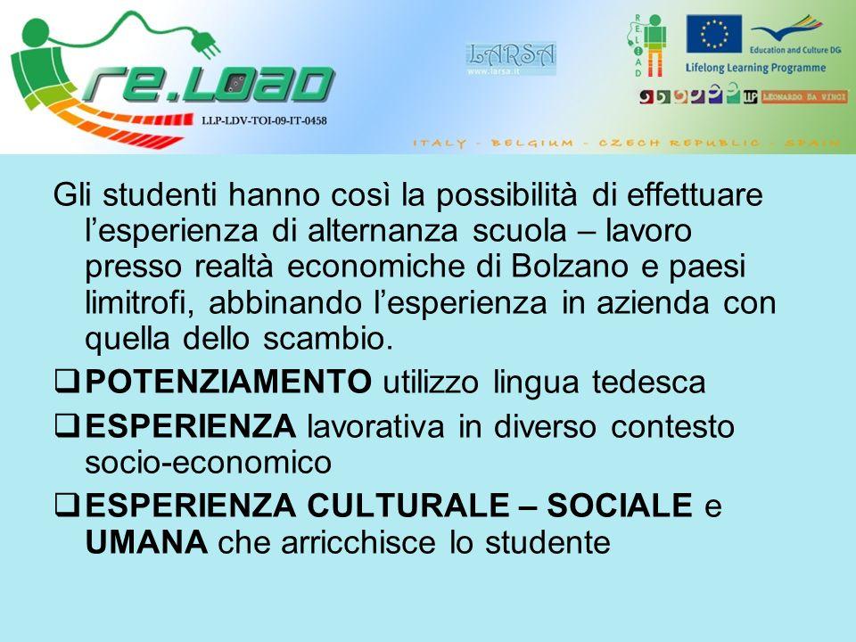 Gli studenti hanno così la possibilità di effettuare lesperienza di alternanza scuola – lavoro presso realtà economiche di Bolzano e paesi limitrofi, abbinando lesperienza in azienda con quella dello scambio.