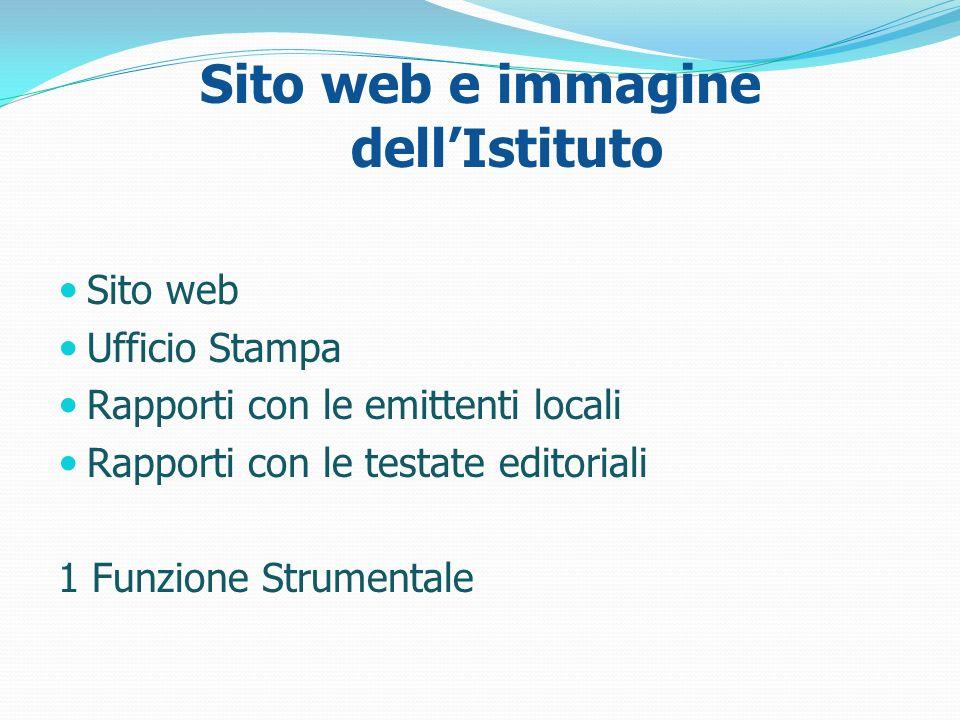 Sito web e immagine dellIstituto Sito web Ufficio Stampa Rapporti con le emittenti locali Rapporti con le testate editoriali 1 Funzione Strumentale