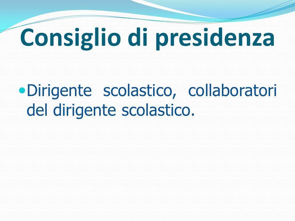 Consiglio di presidenza Dirigente scolastico, collaboratori del dirigente scolastico.