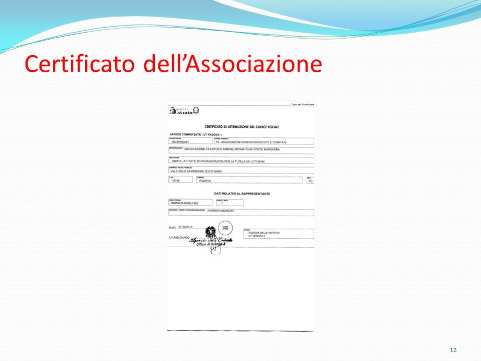 Certificato dellAssociazione 12