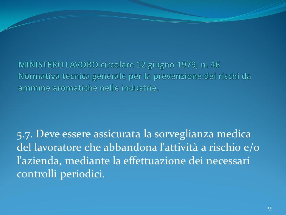 5.7. Deve essere assicurata la sorveglianza medica del lavoratore che abbandona l'attività a rischio e/o l'azienda, mediante la effettuazione dei nece