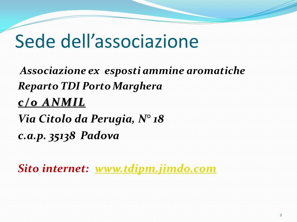 Sede dellassociazione Associazione ex esposti ammine aromatiche Reparto TDI Porto Marghera c/o ANMIL Via Citolo da Perugia, N° 18 c.a.p. 35138 Padova