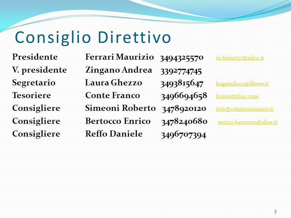 Consiglio Direttivo Presidente Ferrari Maurizio 3494325570 m.ferrari52@alice.it m.ferrari52@alice.it V.