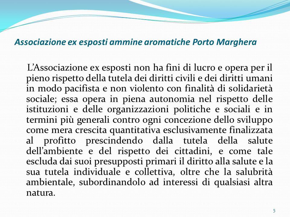 Associazione ex esposti ammine aromatiche Porto Marghera LAssociazione ex esposti non ha fini di lucro e opera per il pieno rispetto della tutela dei