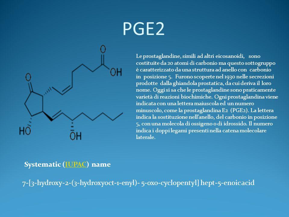 PGE2 7-[3-hydroxy-2-(3-hydroxyoct-1-enyl)- 5-oxo-cyclopentyl] hept-5-enoic acid Systematic (IUPAC) nameIUPAC Le prostaglandine, simili ad altri eicosanoidi, sono costituite da 20 atomi di carbonio ma questo sottogruppo è caratterizzato da una struttura ad anello con carbonio in posizione 5.