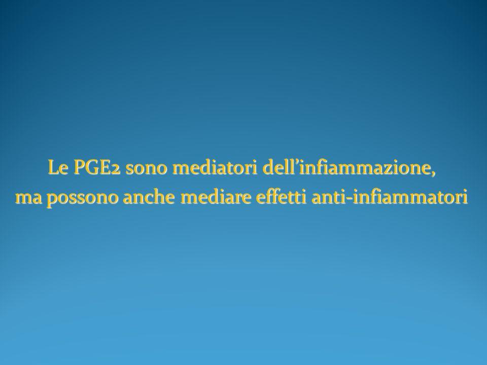 Le PGE2 sono mediatori dellinfiammazione, ma possono anche mediare effetti anti-infiammatori