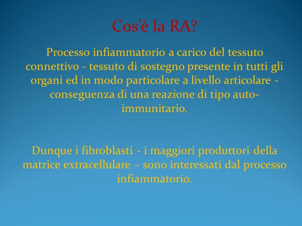 Cosè la RA? Processo infiammatorio a carico del tessuto connettivo - tessuto di sostegno presente in tutti gli organi ed in modo particolare a livello