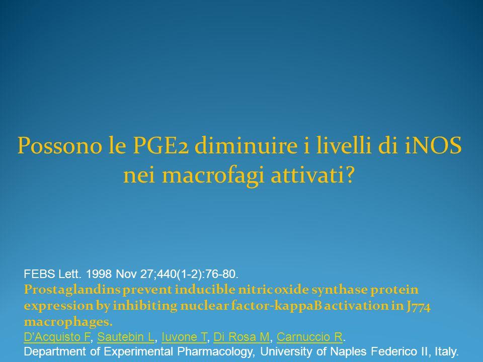 Possono le PGE2 diminuire i livelli di iNOS nei macrofagi attivati? FEBS Lett. 1998 Nov 27;440(1-2):76-80. Prostaglandins prevent inducible nitric oxi