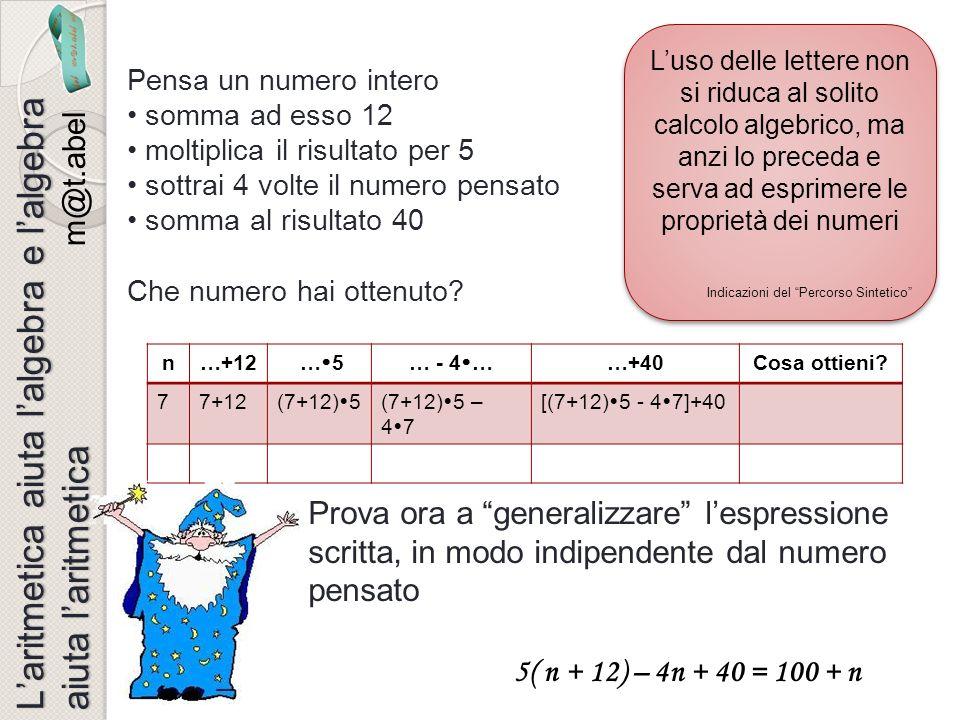 n…+12 … 5… - 4 ……+40Cosa ottieni? 77+12(7+12) 5(7+12) 5 – 4 7 [(7+12) 5 - 4 7]+40 Pensa un numero intero somma ad esso 12 moltiplica il risultato per
