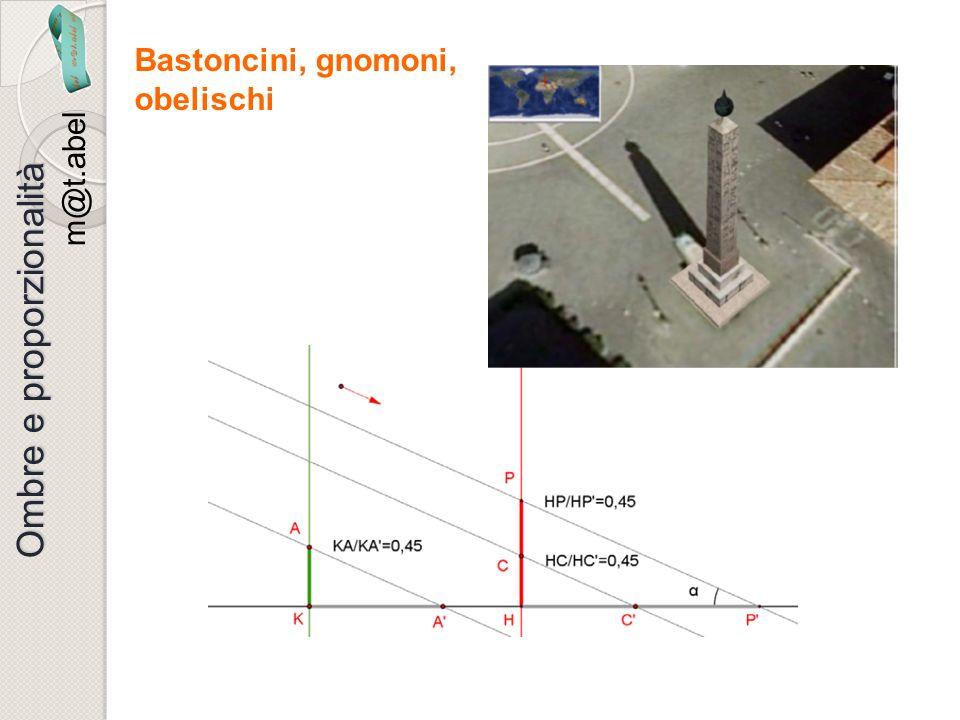 m@t.abel Ombre e proporzionalità Bastoncini, gnomoni, obelischi