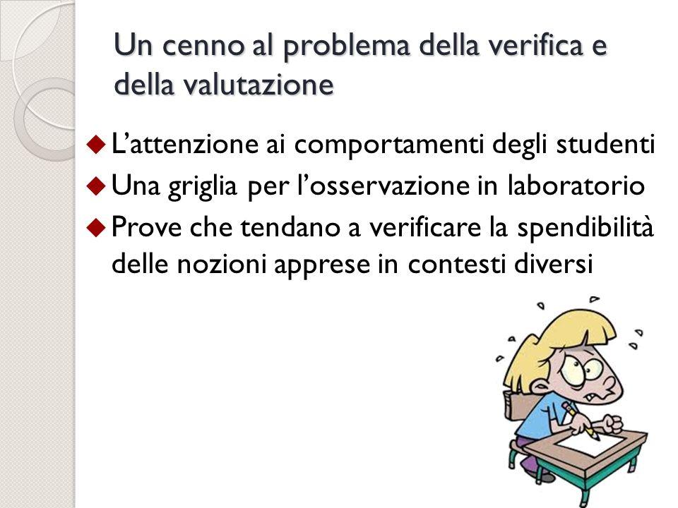 Un cenno al problema della verifica e della valutazione Lattenzione ai comportamenti degli studenti Una griglia per losservazione in laboratorio Prove