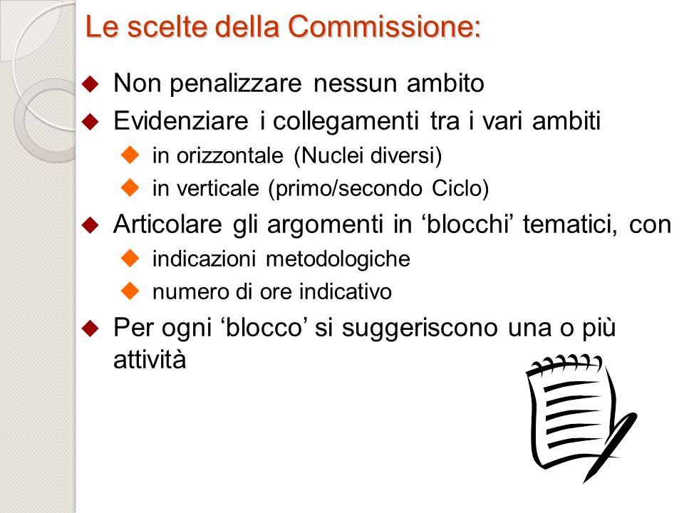 Le scelte della Commissione: Non penalizzare nessun ambito Evidenziare i collegamenti tra i vari ambiti in orizzontale (Nuclei diversi) in verticale (